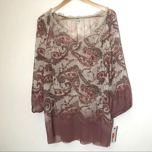 Sonoma Brown Red Gypsy Paisley Top 2X